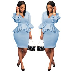 Women Office 2 Piece Dress Sexy Scuba Ruffle Long Lantern Sleeve V Neck Long Top High Waist Mini Skirt Set Work Skirts Outfits Light Blue