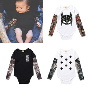Wholesale 11styles Fashion Infant Baby Boys Girls INS Tattoo Sleeve Romper Children New Christmas Long Sleeve Tattoo Print Romper kids clothes RRA2379