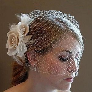Wholesale 2019 Wedding Birdcage Veils Champagne Ivory White Flowers Feather Birdcage Veil Bridal hat Hair Pieces Bridal Accessories