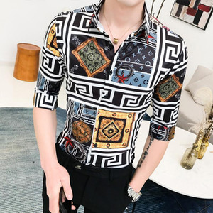Wholesale Social Mens Shirts Plaid Unique design Blouse Men Hawaiian Style Turn down collar Casual dress Shirt Man White yellow Summer