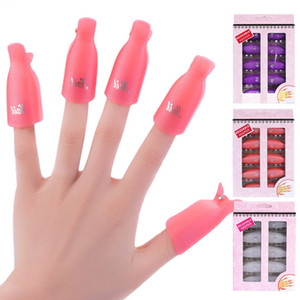Wholesale 10 set Nail Art Plastic Gel Nail Polish Remover Soak Off Cap Clip UV Gel Polish Wrap Tools Fluid