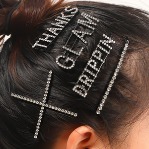 Bling Bling Rhinestone Letter Bobby Pin Hair Clip Women Girls Letter Barrettes Wholesale High Quality Epacket Shipping