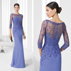 Wholesale Modest Long Sleeve Mermaid Mother of Bride Groom Dress Lace Appliques Top Beaded Long Formal Prom Evening Gowns Custom Made Mother Dress