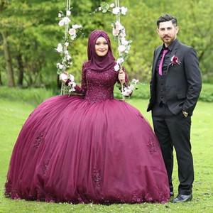 Wholesale Long Sleeve Muslim Formal Party Dress Burgundy Glitter Beaded Evening Dresses Princess Ball Gown Arabic Evening Gowns