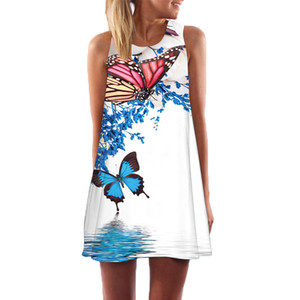 ingrosso vestito corto-BNC New Short Beach Dress Donna New Style Digital Print Casual Bohomian Dressess maniche corte in chiffon abito estivo