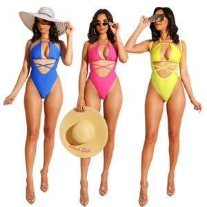 Wholesale Spaghetti Strap Bikini One Piece Swimwear Women Sexy Chiffon Halter Wrap Strappy Hollow Waist Beach Summer Swimsuit Yellow Pink Blue