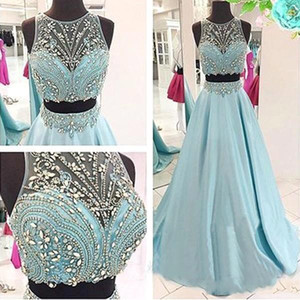 Wholesale evning dresses resale online - Pipular Two Pieces Light Sky Blue Prom Dresses Rhinestones Beads A Line Satin Evning Gowns Formal Vestidos De Festa BC2786