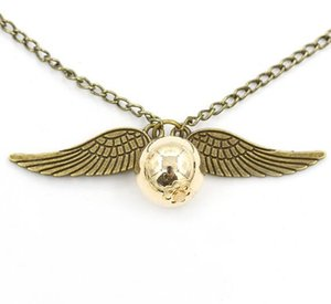 Wholesale Fashion Harry P Necklace Vintage Style Deathly Hallows Angel Wing Charm Golden Snitch Pendant Necklace for Potter Movie Fans Men Women Gift