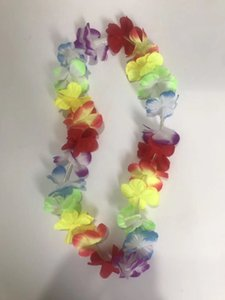 Glowing LED Light Up Hawaii Luau Party Flower Lei Fancy Dress Necklace Hula Garland Wreath Beads Necklace Wedding Decor Party Supplies