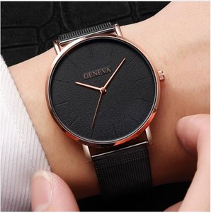 Wholesale Simple Women Men Watches Top Luxury Stainless Steel Mesh Quartz Wristwatches Fashion Clock ladies Watch Montre Femme
