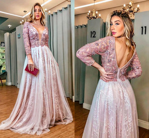 Long Sleeve Reception Evening Dresses 2020 Backless Lace Beaded Floral Arab Aso Ebi kaftan Women Prom Formal Second Gowns on Sale