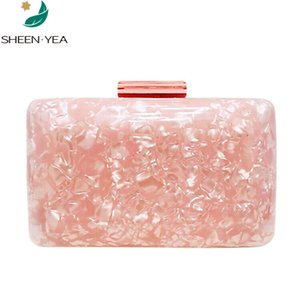 Wholesale New wallet casual women evening bag cute pink acrylic handbag luxury marble wedding hard box bridal party prom mini clutch purse