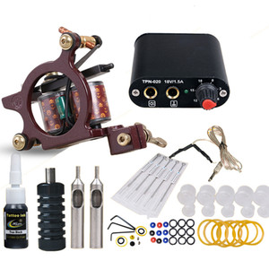 Wholesale Beginner Tattoo kit Coils Tattoo Machine Mini Power Supply Needles ml Black Ink Complete Tattoo Set