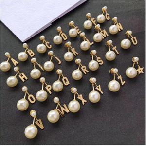26 letter pearl stud female brass stud ornament