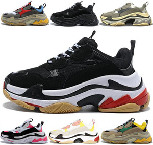zapatos casuales verdes al por mayor-Triple S Sneakers Brand Paris FW Triple S platform sneakers men s ladies black red white green casual dad shoes tennis increase