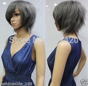 Wholesale H5982Q gt gt Dark gray cosplay wig short wig fluffy layers turned Alice