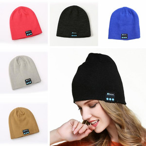 Wholesale 2019 Colors Bluetooth Music Beanie Hat Winter Warm Knit Cap Wireless Smart Caps Headset Speaker Microphone Handsfree Music Hats Gift M641F