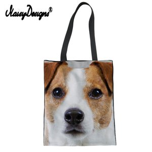 Wholesale Women Storage Shopping Tote Bags Jack Russell Terrier Labrador Print Pets Dog Men Student Casual Daily Use Single Shoulder Bags