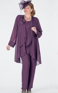 Wholesale long purple mother bride jacket for sale - Group buy Purple Three Pieces Mother Of The Bride Suits Chiffon Jewel With Long Sleeves Jacket Formal Wearing Pants HY4026