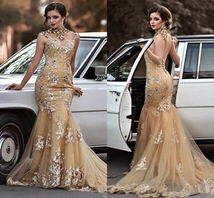 Wholesale 2020 New Gold Champagne Mermaid Prom Dresses Long New ArrivalSexy Open Back Evening Gowns Appliqueds Sequines Special Occasion Dresses