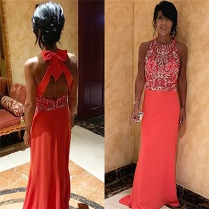 Jewel Sheath Prom Dresses Special Occasion Dresses Beads with bow Back Long Party Dresses custom made on Sale