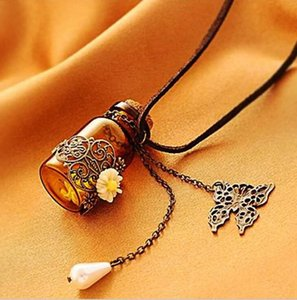Wholesale Fashion jewelry necklace Carved long leather cord necklaces pendants retro cork Wishing bottle sweater chain