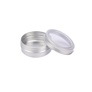 60ML Aluminum Cream Jar Pot with Visible Window Silver Box Screw Lid Nail Art Makeup Lip Gloss Empty Cosmetic Metal Tin Containers