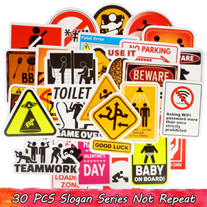 Wholesale traffic signs for sale - Group buy 30 Waterproof Warning Road Computer Warning Sign Stickers Car Home Decoration Child Adults DIY Computer Water Cup Racket Creative Gifts