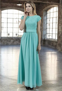 Wholesale new mint bridesmaid dresses resale online - 2019 New Mint Lace Chiffon A line Long Modest Bridesmaid Dresses With Cap Sleeves Floor Length Light Green Modest Maids of Honor Dress