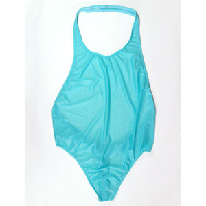 G9282 Mens bodysuit Thong Leotard Deep Cut Back Nylon spandex slightly C-thru shiny on Sale