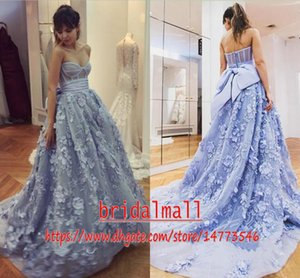 Wholesale 3D Floral Appliqued Tulle Blue African Evening Dresses With Bow Tie Sweetheart Long Prom Dress Elegant Formal Party Gowns Robes de soirée