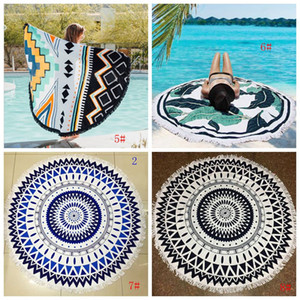 Wholesale rounds rugs for sale - Group buy Round Beach Towel Mandala Tassel Tapestry Polyester Yoga Mat Printed Women Shawl Table Cloth Picnic Rugs Designs DBC BH2992