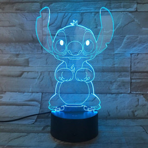 Wholesale 3D cute cartoon pin night light color change LED table lamp touch bedroom decoration gift Factory
