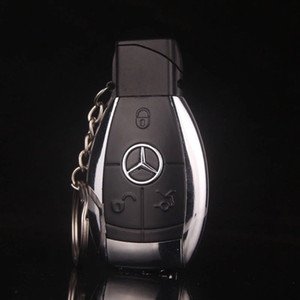 Mesdes car key Model Windproof Lighter Flame gas Fashion Design Creative cigarette lighter buckle With LED Flashlight gift + key chain