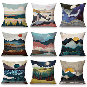 Wholesale Mountain Wave Forest Tree Cushion Cover Sun Rising Oil Painting X45cm Thick Linen Cotton Pillow Case Sofa Chair Decoration