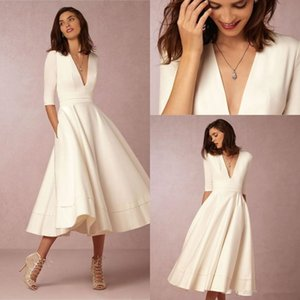 2019 BHLDN New Fashion Tea-length Vintage Wedding Dresses With Half Sleeve V-neck Custom Make Short Beach Party Bridal Wedding Gown 292