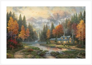 Wholesale Thomas Kinkade Evening at Autumn Lake High Quality Handpainted HD Print Famous Wall Art Oil Painting On Canvas Home Decor Multi Sizes L100