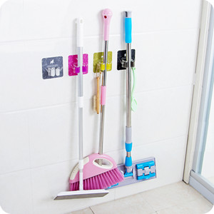 Wholesale Self Adhesive Wall Mounted mop holder Kitchen Organizer Storage rack for Mop Brush Broom Mops Hanger Hanging hook home storage