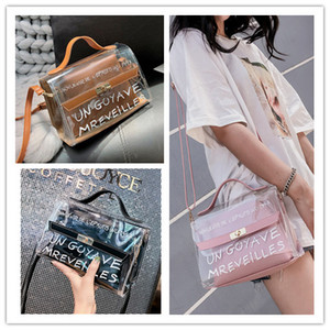 Wholesale Transparent PVC Satchel Handbag Women Bag Clear Jelly Transparent PVC Bag Candy Color Tote Designer Purse Crossbody