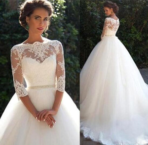 Wholesale Country Vintage Lace Wedding Dresses High Neckline Half Long Sleeves Pearls Tulle Princess Ball Gowns Cheap Bridal Dresses Plus Size