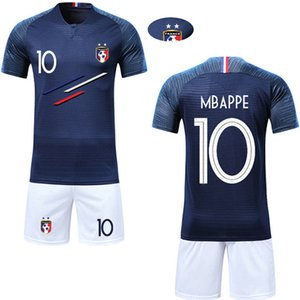 Wholesale 2019 World Champions Short Sleeve T Shirts Women Men Best Quality France Hiphop Top Tees T Shirt with shorts Kids Kit soccer shirt Set
