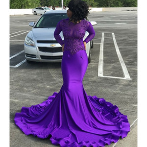 Wholesale Purple Long Sleeve Mermaid Prom Dresses 2019 New Jewel Neck Sweep Strain Lace Applique Formal Evening Dress