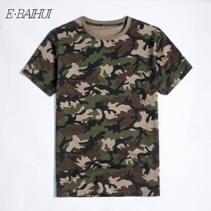 Wholesale E BAIHUI New Summer Military Camouflage Men Cotton Clothing Camo Camisetas T shirt Casual Tactical Army Combat Brand Men Tops Tees T040