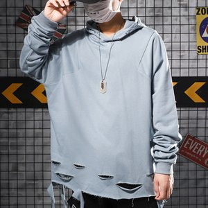Wholesale Haze Blue Sweatshirt Men and Women Hat Loose Hair Side Down Hole Beggars Personality Hip hop Gothic Mens Designer Hoodies