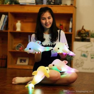 Wholesale LED Light Luminous Dolphin Doll cm Cute Soft Pillow Stuffed Animal Plush Glowing Pillow Christmas Gifts LJJ_OA4022