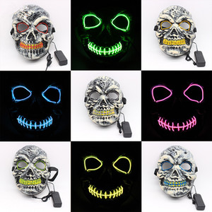 Halloween LED Masks EL Wire Horror Party Masquerade Skull Full Face Masks Festival Cosplay Costume Supplies Toys TTA1498 on Sale
