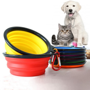 Wholesale Travel Collapsible Pet Dog Feeding Bowl Colors CM Silicone Cat Water Dish Portable Outdoor Puppy Feeder Pieces DHL