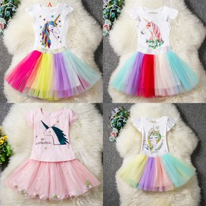 Wholesale Ins Baby girls Unicorn Outfits Dress Cotton children top Ruffles sleeve TuTu rainbow skirts Cartoon Fashion Kids Clothing Sets