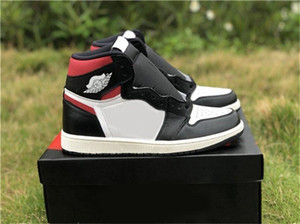 Wholesale 2019 New Release 1 OG High Black Gym Red Men Basketball Shoes Black Gym Red White Sail 555088-061 Outdoor Sneakers
