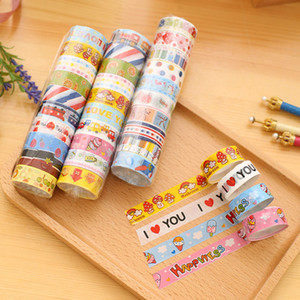 Wholesale scrapbook adhesive tape resale online - Cartoon Colorful Tape Notebook Decorative Adhesive Tape School Sticker Rolls Cute Colorful DIY Scrapbooks Sticker Label Tape BH2537 TQQ